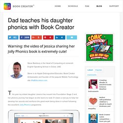 Dad teaches his daughter phonics with Book Creator