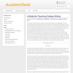 A Model for Teaching College Writing