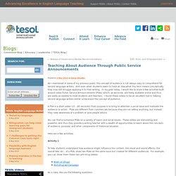 Teaching About Audience Through Public Service Announcements
