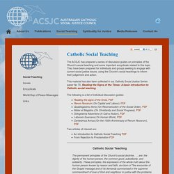 Social Teaching - Australian Catholic Social Justice Council