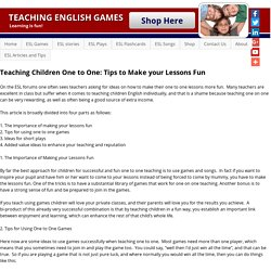 Teaching Children One to One: Tips to Make your Lessons Fun