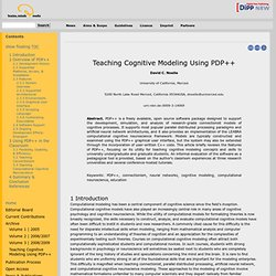 Teaching Cognitive Modeling Using PDP++ — Brains, Minds & Media