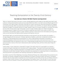 Teaching Computation in the Twenty-First Century — CGI Math Teacher Learning Center
