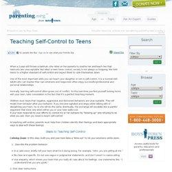 Teaching Self-Control to Teens