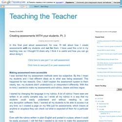 Teaching the Teacher: Creating assessments WITH your students. Pt. 3