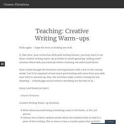 Teaching: Creative Writing Warm-ups
