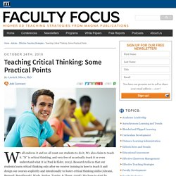Teaching Critical Thinking: Some Practical Points