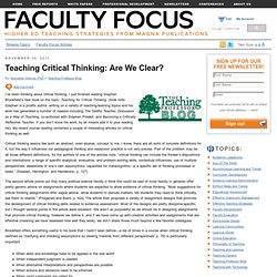 Teaching Critical Thinking: Are We Clear?