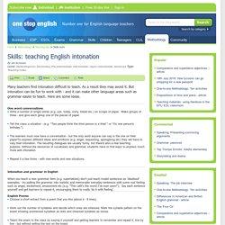 Skills: teaching English intonation
