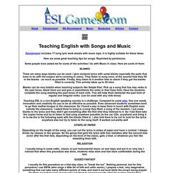 Teaching ESL EFL English with Songs Lyrics and Music How To Fill in the Blanks