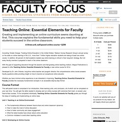 Teaching Online: Essential Elements for Faculty