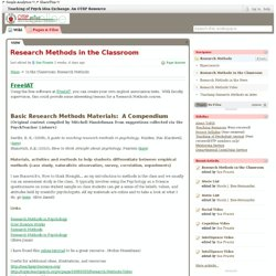 Teaching of Psych Idea Exchange: An OTRP Resource / Research Methods in the Classroom