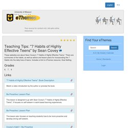 "Teaching Tips: ""7 Habits of Highly Effective Teens"" by Sean Covey"