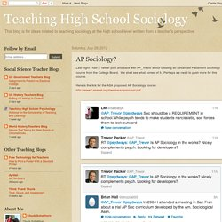 Teaching High School Sociology: AP Sociology?