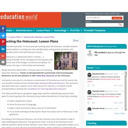 Teaching the Holocaust: Lesson Plans