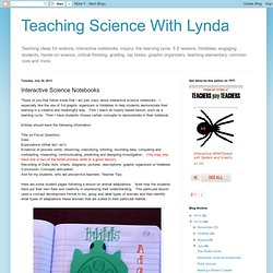 Teaching Science With Lynda: Interactive Science Notebooks