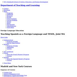 Teaching Spanish as a Foreign Language and TESOL, Joint MA - Foreign Language Education
