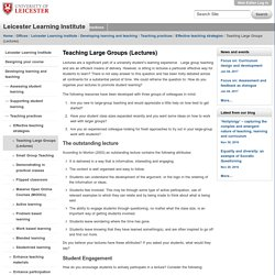 Teaching Large Groups (Lectures)
