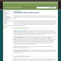 Teaching Math Skills to Adult Learners - Literacy Online