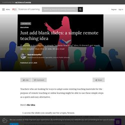 Just add blank slides: a simple remote teaching idea