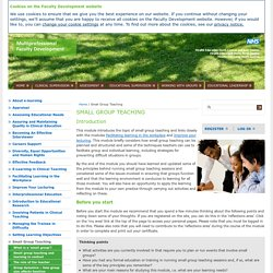 Small Group Teaching — E-Learning Modules