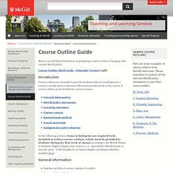 Course Outline Guide | Teaching and Learning Services