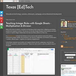 Texas [Ed]Tech: Teaching Integer Rules with Google Sheets - Multiplication & Division