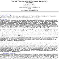 Life and Teaching of Nepalese Siddha Advayavajra