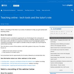 Teaching online - tech tools and the tutor's role
