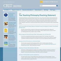 The Teaching Philosophy/Teaching Statement
