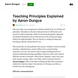 Teaching Principles Explained by Aaron Dungca