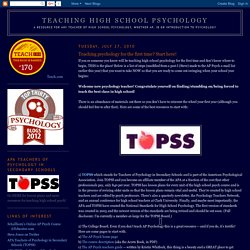 Teaching High School Psychology: Teaching psychology for the first time? Start here!