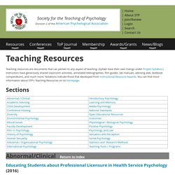 Society for the Teaching of Psychology - Teaching Resources