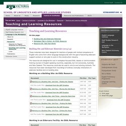 Teaching and Learning Resources - School of Linguistics and Applied Language Studies