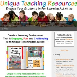 Unique Teaching Resources: Lesson Plans, Book Report Projects, Bulletin Board Displays
