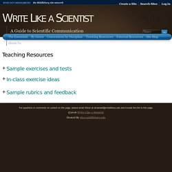 Teaching Resources « Write Like a Scientist