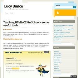 Teaching HTML/CSS in School – some useful tools « Lucy Bunce