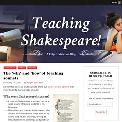 The 'why' and 'how' of teaching sonnets - Folger Education
