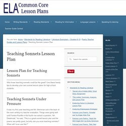 Teaching Sonnets Lesson Plan