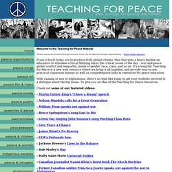 Teaching for Peace - Web sources for peace and social justice education
