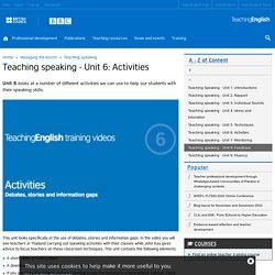 Teaching speaking - Unit 6: Activities