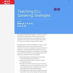 Teaching ELL: Speaking Strategies