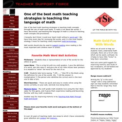 Math Teaching Strategies: The Language of Math
