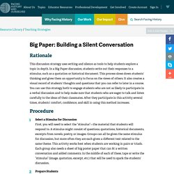 Teaching Strategy: Big Paper - Building a Silent Conversation