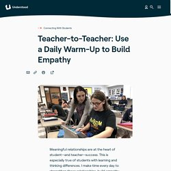 Teaching Strategy: A Daily Warm-Up to Build Empathy in Class