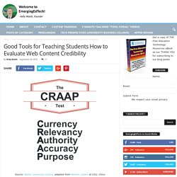 Good Tools for Teaching Students How to Evaluate Web Content Credibility