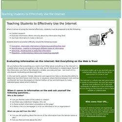 Teaching Students to Effectively Use the Internet