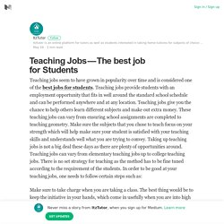 Teaching Jobs – The best job for Students