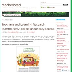 Teaching and Learning Research Summaries: A collection for easy access.