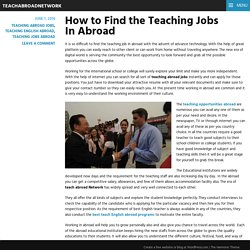 How to Find the Teaching Jobs In Abroad